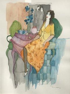 Quiet Afternoon Watercolor 30x26 Watercolor by Itzchak Tarkay