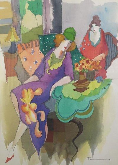 Untitled Watercolor 25x22 Watercolor by Itzchak Tarkay