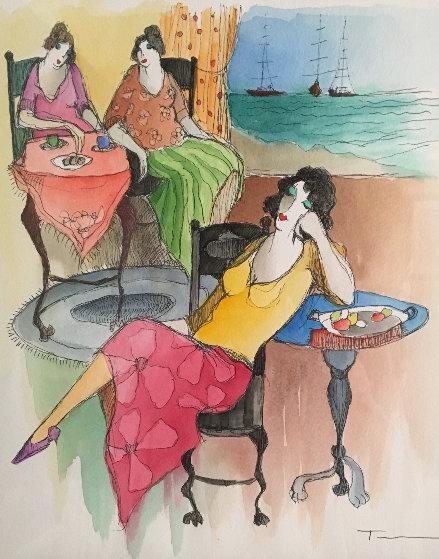 Countryside Cafe' Watercolor 26x23 Watercolor by Itzchak Tarkay