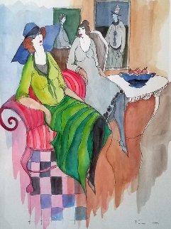 Untitled Watercolor 2005 28x24 Watercolor by Itzchak Tarkay