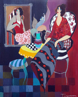 Silhouette #3 38x32 Original Painting - Itzchak Tarkay
