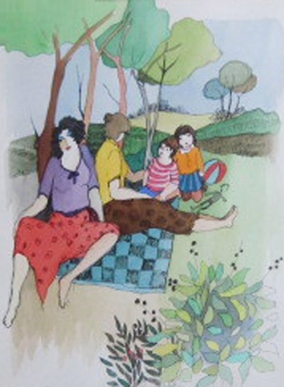 Summer Picnic Watercolor 2005 28x32 Watercolor by Itzchak Tarkay