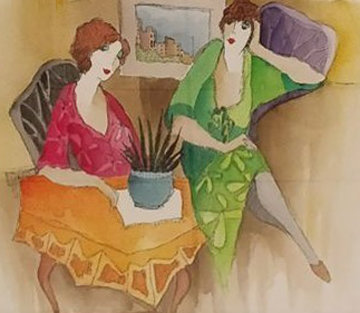 Ladies Chat 2007 28x32 Watercolor by Itzchak Tarkay