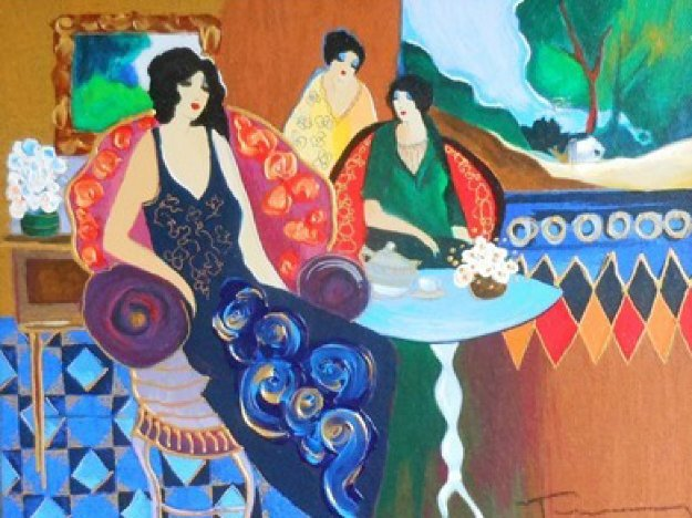 Parlor Poses Embellished Limited Edition Print by Itzchak Tarkay