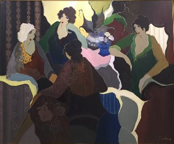 Ladies Group Scene 68x81 Original Painting by Itzchak Tarkay