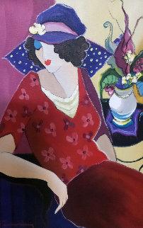 Untitled Painting 32x28 Original Painting - Itzchak Tarkay