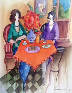 Untitled Ladies Watercolor 2014 24x20 Works on Paper (not prints) by Itzchak Tarkay
