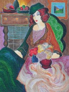 Femme Au Bouquet PP 2001 Limited Edition Print - Itzchak Tarkay