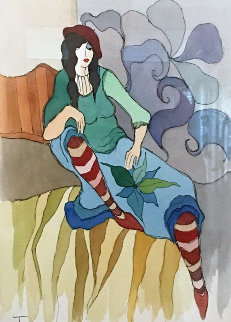 Vintage Fashion Way Watercolor 2005 17x14 Watercolor - Itzchak Tarkay