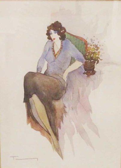 Untitled Woman 2002 35x21 Watercolor by Itzchak Tarkay