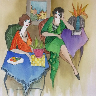 Untitled Watercolor  22x16 Watercolor by Itzchak Tarkay