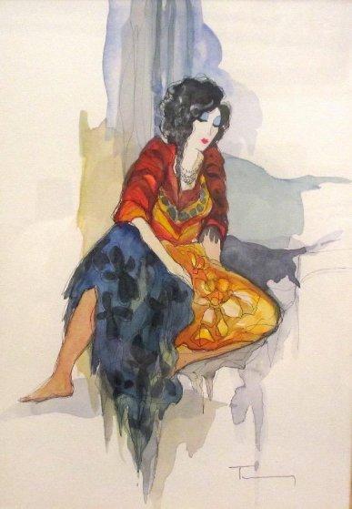 Untitled Watercolor 2007 25x21 Watercolor by Itzchak Tarkay