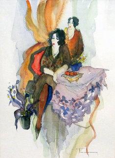 Untitled Watercolor 25x21 Watercolor - Itzchak Tarkay
