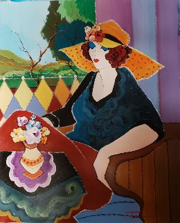 Village Cafe 26x22 Original Painting by Itzchak Tarkay