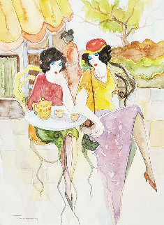 Waiting Watercolor 2002 24x21 Watercolor - Itzchak Tarkay