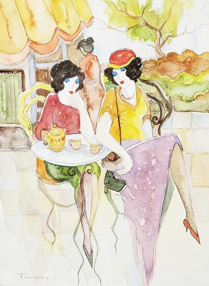 Waiting Watercolor 2002 24x21 Watercolor by Itzchak Tarkay