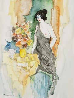 Untitled Watercolor 2002 24x21 Watercolor by Itzchak Tarkay