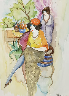 Untitled Watercolor  2002 24x21 Watercolor - Itzchak Tarkay