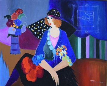 Lady With Black Hat!  45x52 Original Painting - Itzchak Tarkay