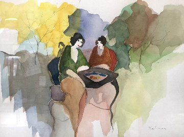 Untitled Watercolor 28x30 Watercolor by Itzchak Tarkay