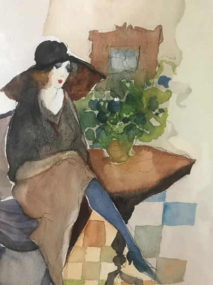 Untitled Watercolor  Watercolor by Itzchak Tarkay