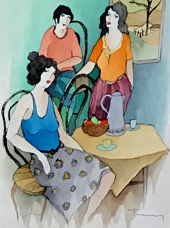 Women in Harmony Watercolor 27x23 Watercolor - Itzchak Tarkay