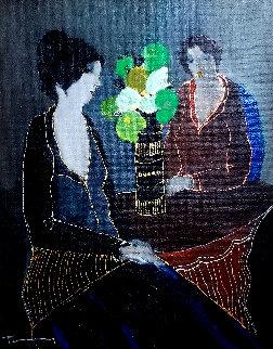 Silent Evening 2001 23x19 Original Painting - Itzchak Tarkay
