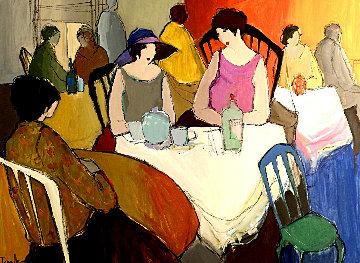 3 Ladies At Cafe 1990 45x57 Huge Original Painting - Itzchak Tarkay