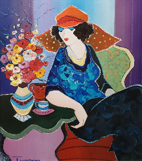 Flowers From Lover 30x25 Original Painting by Itzchak Tarkay