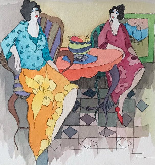 Casual Company Watercolor 24x24 Watercolor by Itzchak Tarkay