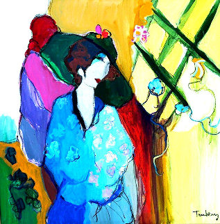 Michelle 1991 47x47  Huge Original Painting - Itzchak Tarkay