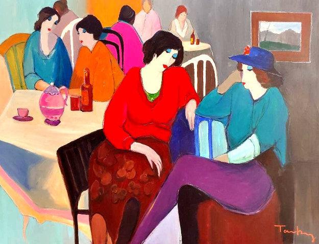 Untitled Painting 46x56 Huge Original Painting by Itzchak Tarkay