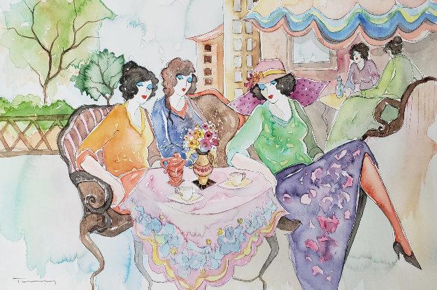 Untitled Watercolor 2002 15x12 Watercolor by Itzchak Tarkay