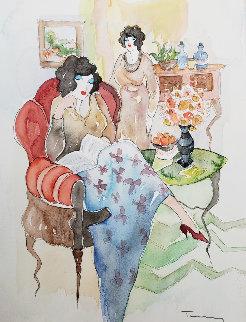 Untitled Watercolor 2002 15x11 Watercolor by Itzchak Tarkay