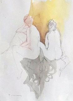 Model, Side And Back Watercolor 27x24 Watercolor by Itzchak Tarkay