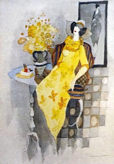 Yellow Daisies Watercolor 29x24 Watercolor by Itzchak Tarkay