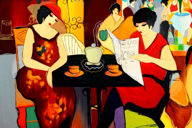 Nicole Reading Herald 2003 Limited Edition Print by Itzchak Tarkay
