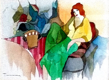 Complacent 2006 17x20 Watercolor - Itzchak Tarkay