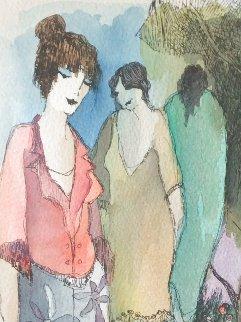 Closeness of Three Watercolor 2007 18x14 Watercolor by Itzchak Tarkay