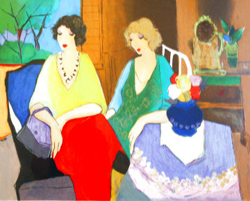 Blond Grace Sitting At a Table With the Dark Haired Girl Alone 1990 Limited Edition Print - Itzchak Tarkay