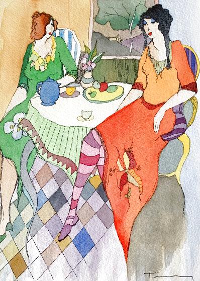 True Friends  Watercolor 2005 25x22 Watercolor by Itzchak Tarkay