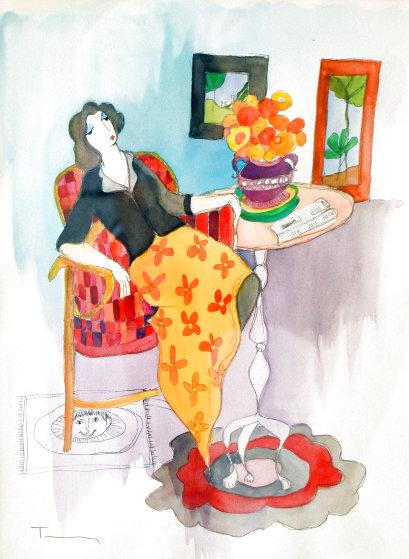 Daily Paper Watercolor 27x23 Watercolor by Itzchak Tarkay