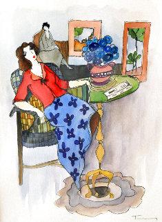 Yellow Footed Table Watercolor 28x24 Watercolor - Itzchak Tarkay