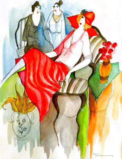 Untitled #31 Watercolor 11x15 Watercolor by Itzchak Tarkay