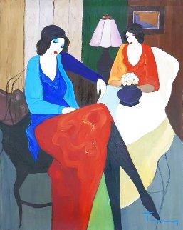 Two Women 1995 32x30 Original Painting - Itzchak Tarkay