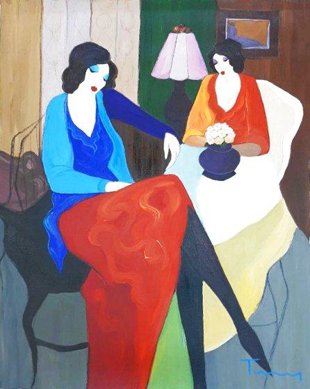 Two Women 1995 32x30 Original Painting by Itzchak Tarkay
