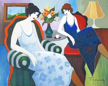 Untitled (Two Seated Women) 1990 32x40 Huge Original Painting - Itzchak Tarkay