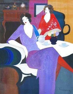 Untitled Two Women 1994 36x46 Original Painting - Itzchak Tarkay
