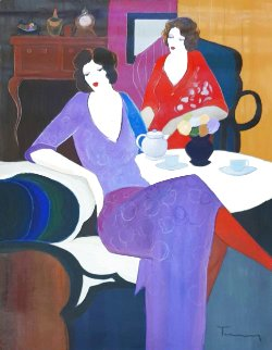 Untitled Two Women 1994 36x46 Super Huge Original Painting - Itzchak Tarkay
