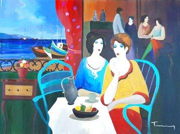 Untitled Painting  (Jaffa Women) 1998 38x51 Super Huge Original Painting - Itzchak Tarkay
